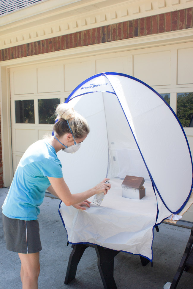 The HomeRight Small Spray Shelter is a MUST for spray paint projects! It prevents overspray and it's super easy to set up.