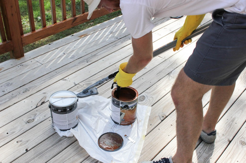 How to Stain a Deck: HomeRight Stain Stick with Gap Wheel