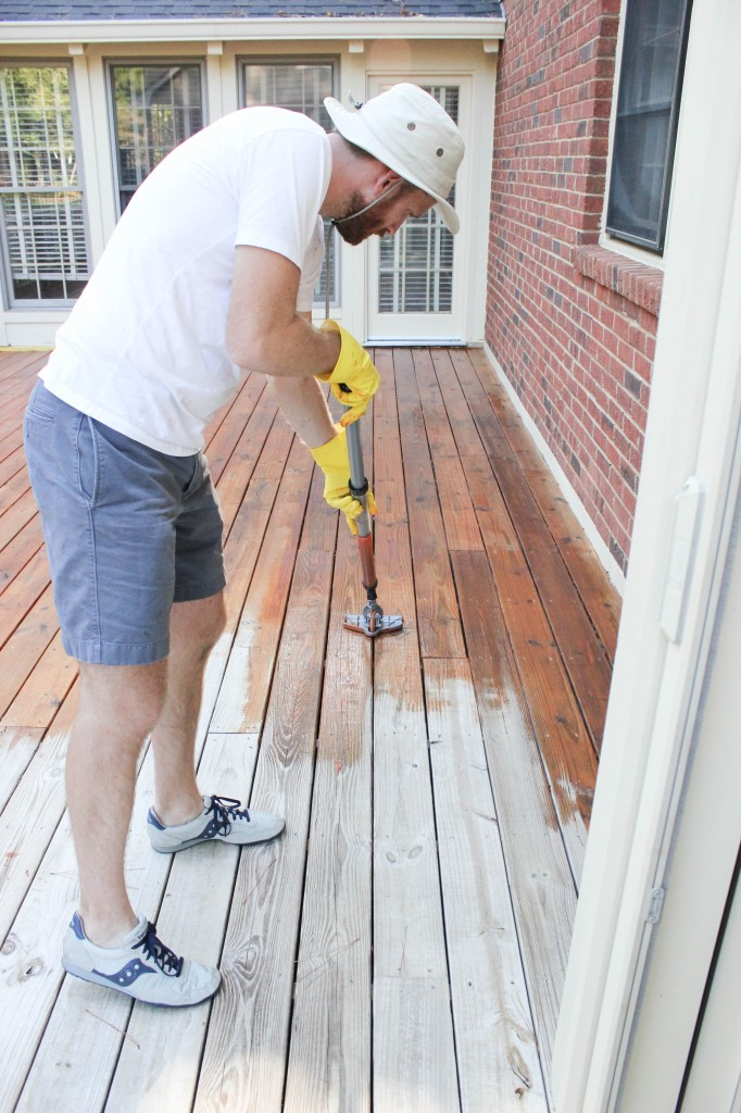 This step by step tutorial shows you how to stain a deck, plus shares a tool that will make the job go faster!