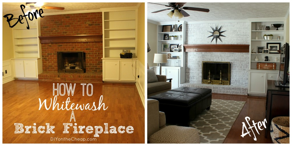 How to whitewash a brick fireplace {Tutorial}
