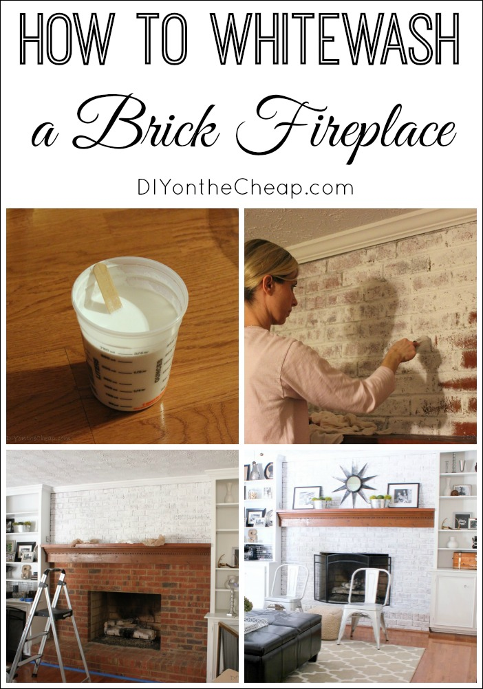 This step by step tutorial shows you how to whitewash a brick fireplace.