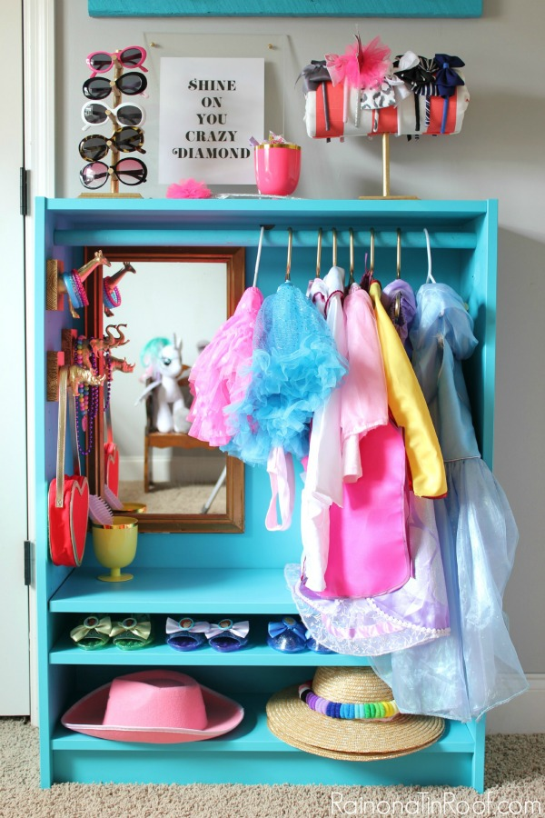 IKEA Billy Bookcase turned adorable dress-up closet!