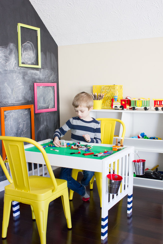 Turn a baby changing table into a Lego table with this IKEA Hack!