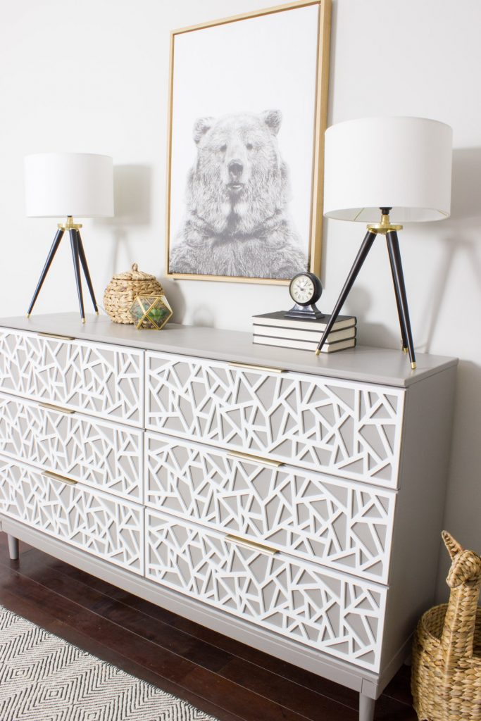 Check out this awesome IKEA TARVA hack! Loving the overlays and hardware.