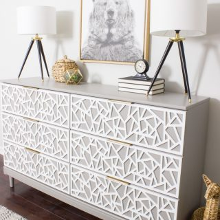 Check out this IKEA TARVA hack! Loving the overlays on the drawer fronts and that modern hardware.