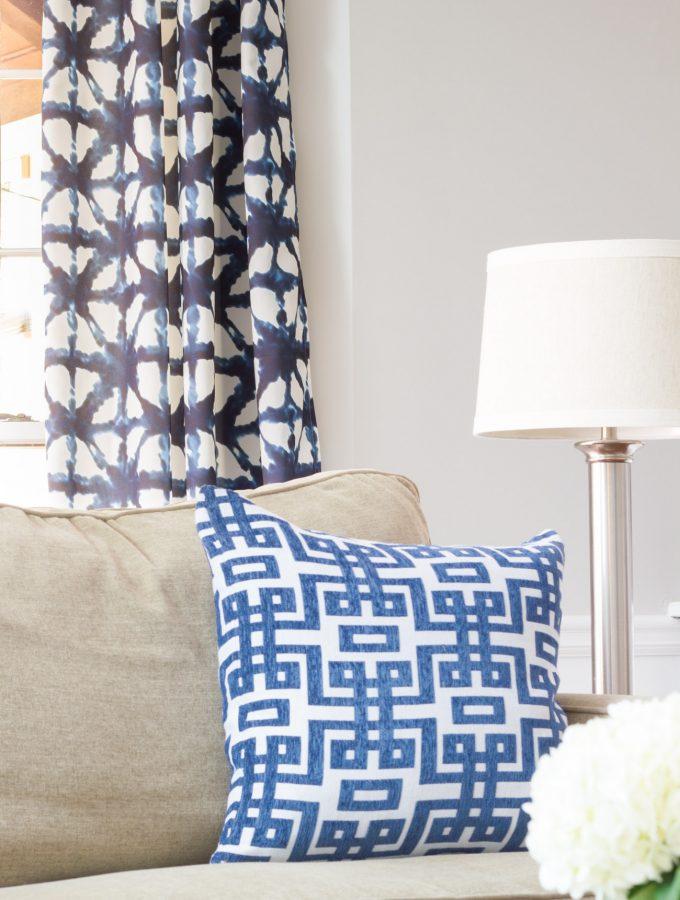 Indigo Shibori Fabric in the Family Room