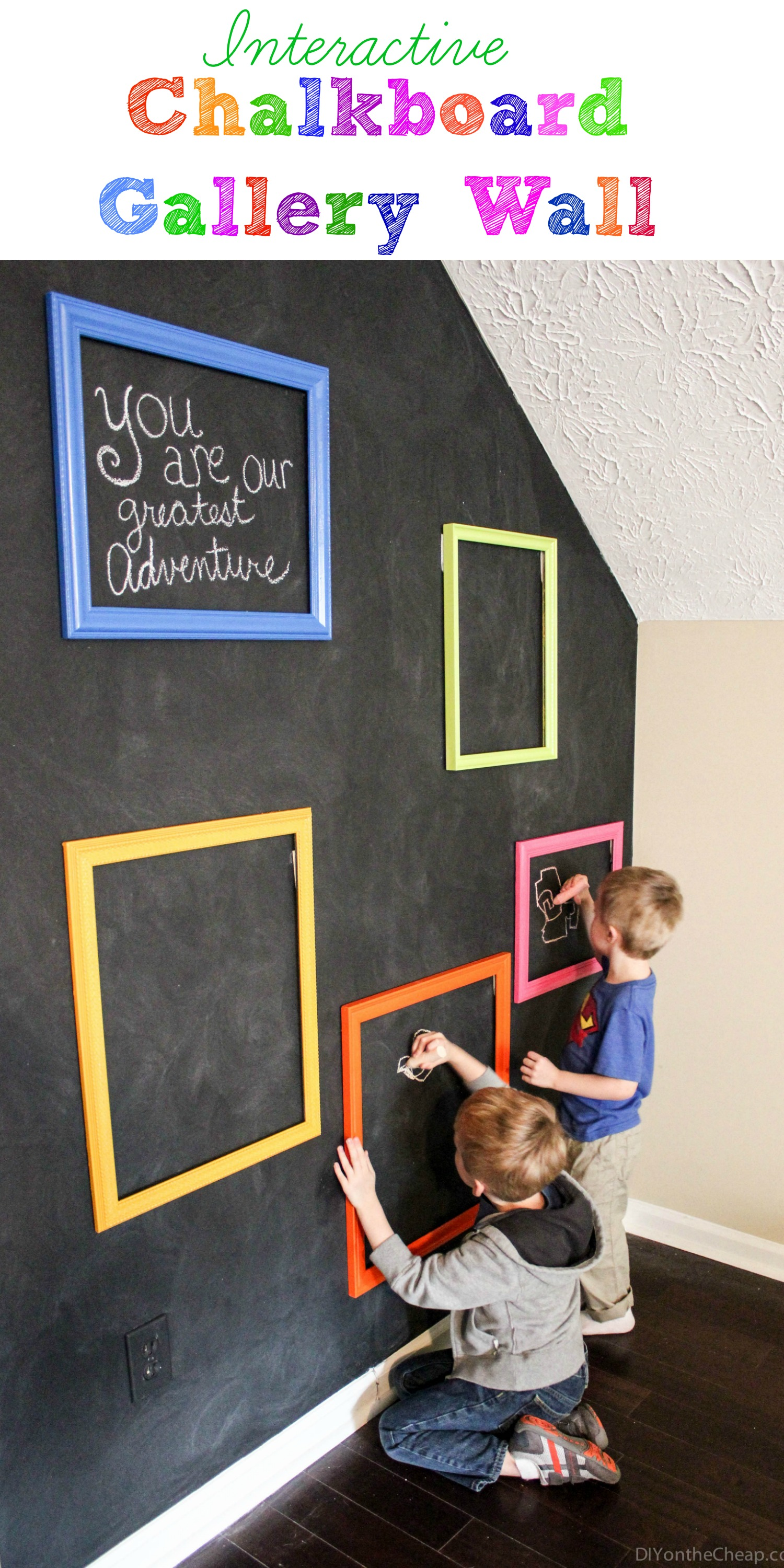 Playroom interactive chalkboard gallery wall erin spain - Funny playroom with colorfull wall paint idea ...