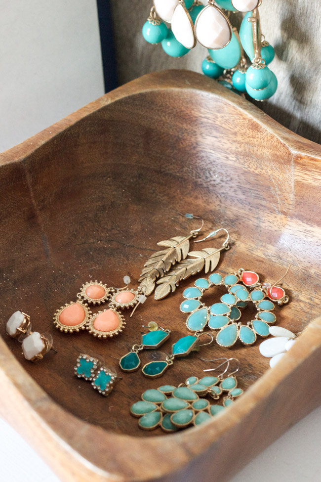 Closet makeover: earrings in a thrifted wooden bowl