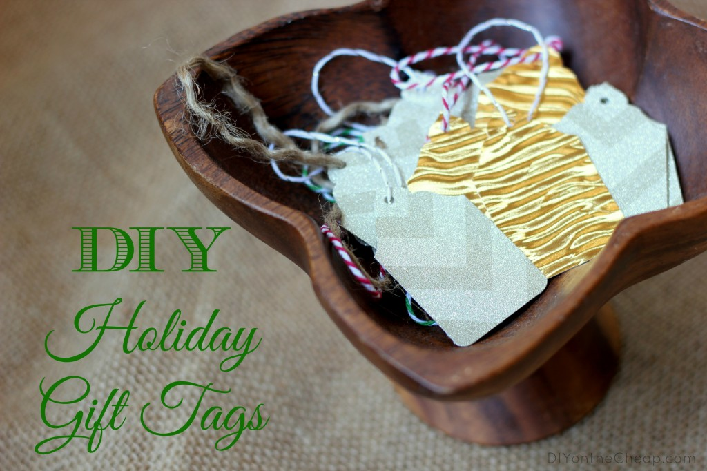 How to make DIY holiday gift tags: tutorial via DIYontheCheap.com!