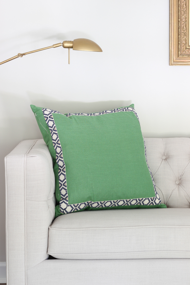 Kelly Green & Navy Pillow from Lacefield Designs.