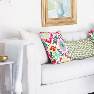 """The Lakewood Sofa from Home Decorators Collection looks AMAZING in this """"mom cave"""" (aka living room/office)!"""