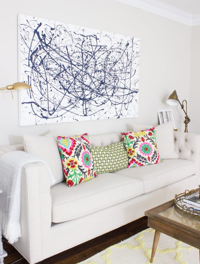 Large-Scale Abstract Art on a DIY Drop Cloth Canvas