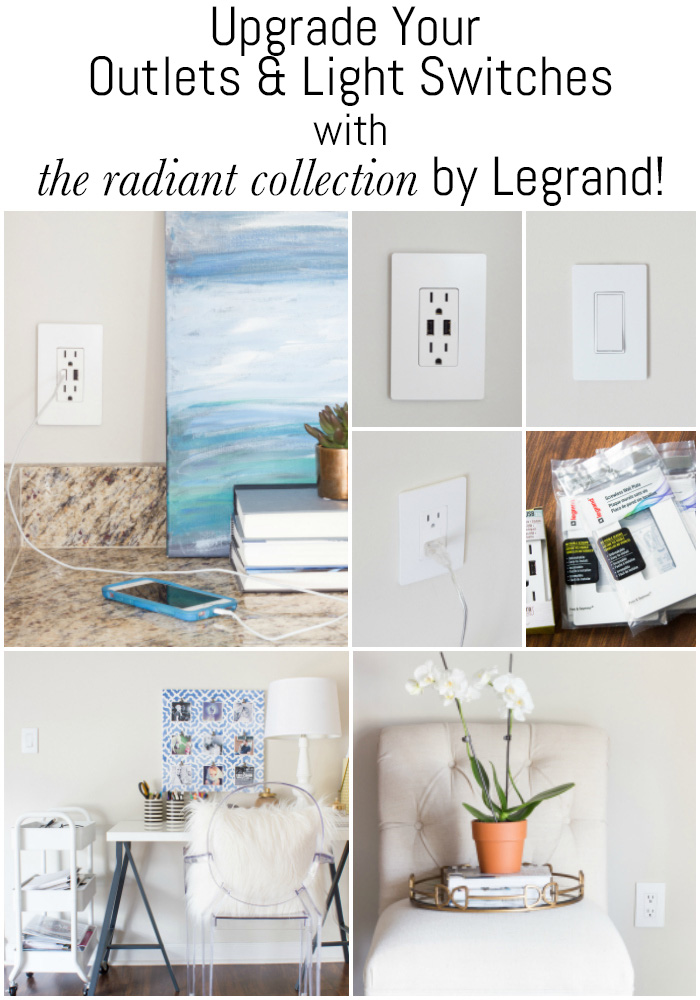 Simple upgrades make a big difference! Upgrade your outlets and light switches with the radiant collection from Legrand! They have SO many options.