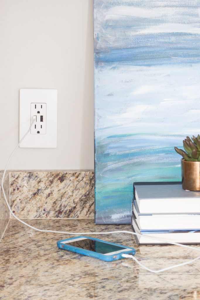 Simple upgrades make a big difference! Upgrade your outlets and light switches with the radiant collection from Legrand! I especially love their USB charger option.