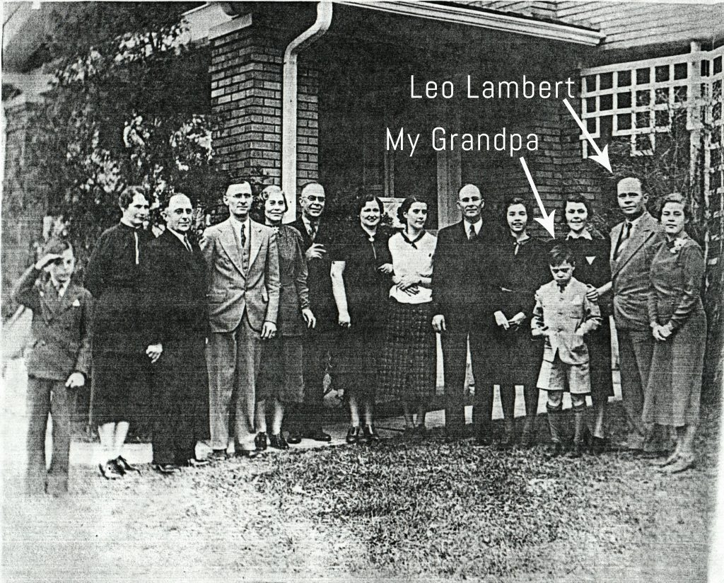 Leo Lambert discovered Ruby Falls in the 1920s. Here he is in a family photo with my grandfather in the 1930s.