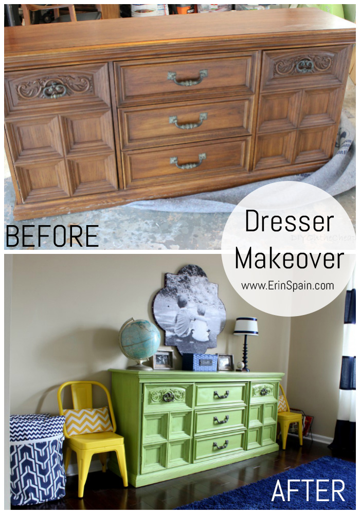 This lime green dresser looks awesome in this boy's bedroom! What an amazing before & after.