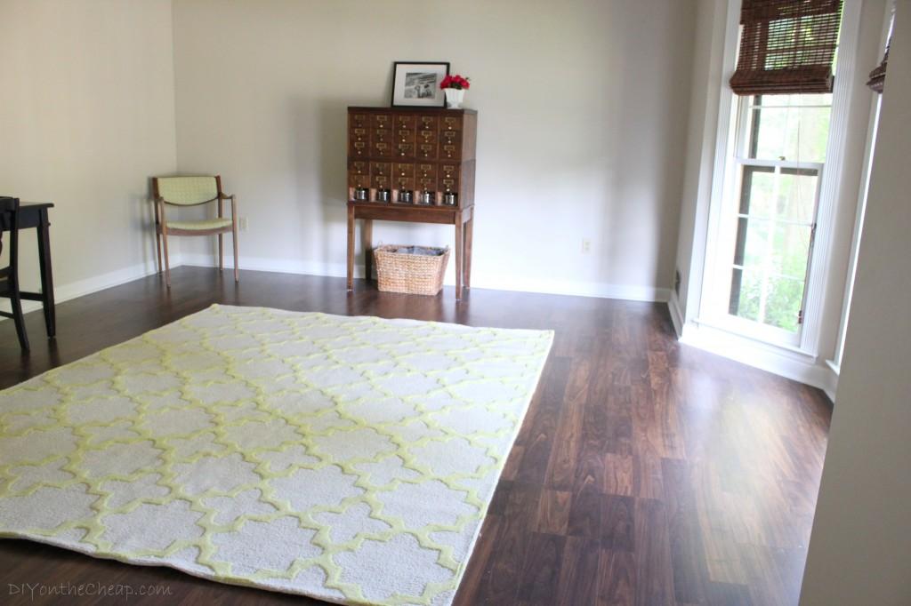 Living Room Progress New Rug From Rugs USA Tuscan Terali Moroccan Trellis In Sunshine