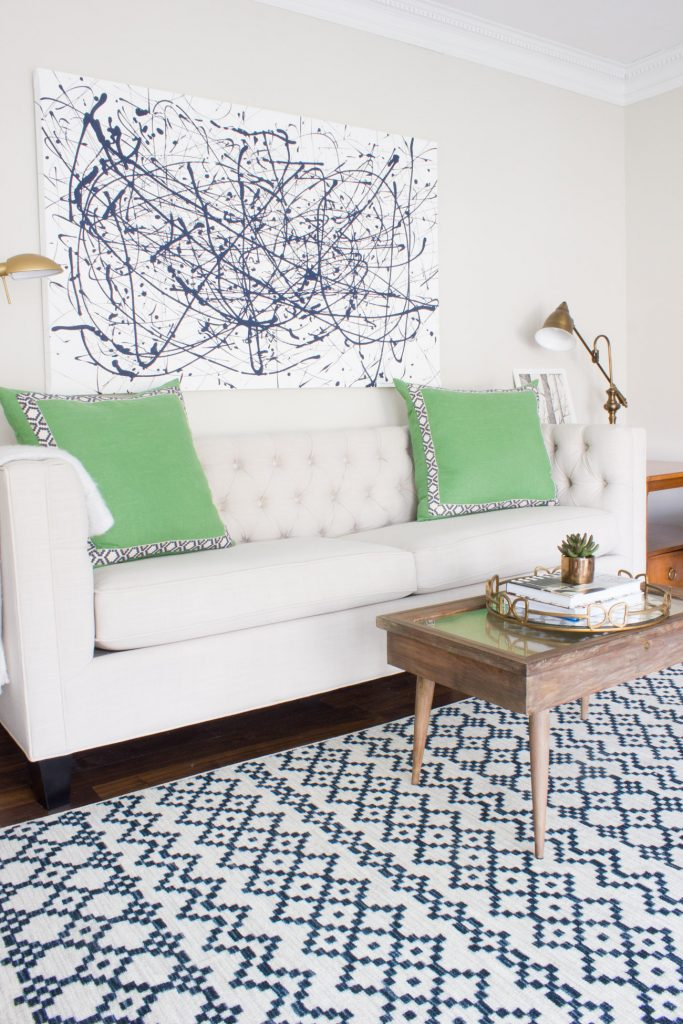 """Check out this gorgeous spring home tour blog hop! Loving this living room """"mom cave""""."""