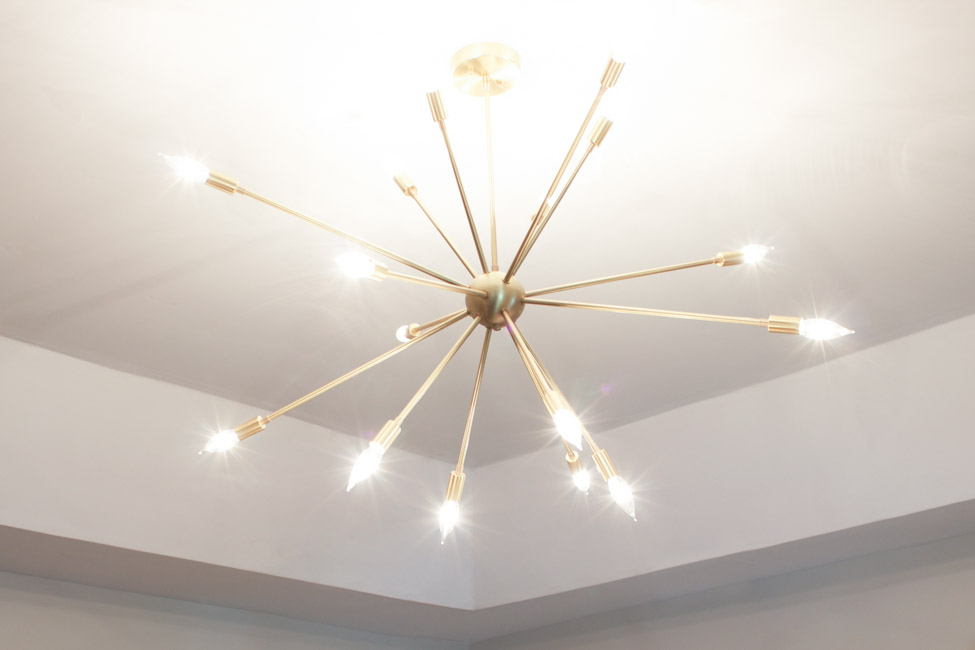 Trend This beautiful custom Sputnik chandelier was made by Lucent Lightshop for this master bedroom makeover as