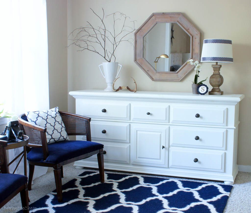 Navy and white master bedroom. Master Bedroom Makeover   Erin Spain