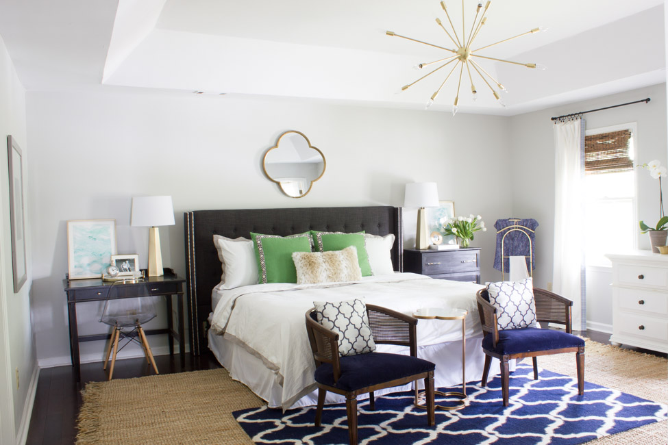 This master bedroom was made over for the One Room Challenge and is now a calming retreat with pops of navy, gray and green.