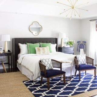 This master bedroom makeover was completed for the One Room Challenge. With pops of gray, navy, green & gold, this room is a calming retreat.