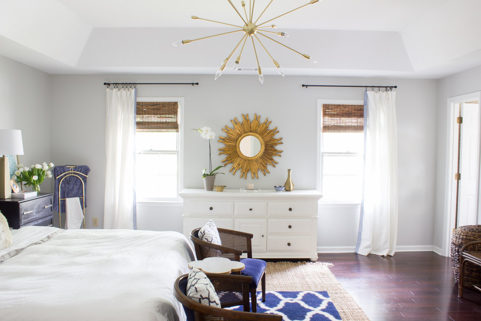 This master bedroom retreat was made over for the One Room Challenge. Check out the before and after for the dramatic transformation!