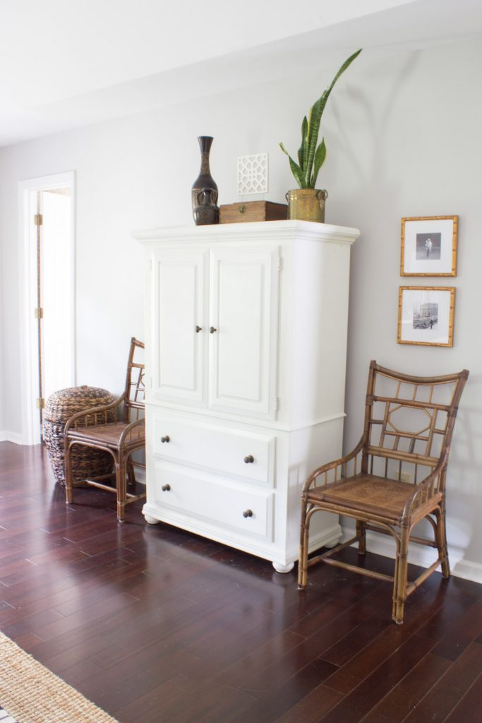 Mandalay frames from Framebridge displaying Instagram photos flank the armoire in this master bedroom made over for the One Room Challenge.