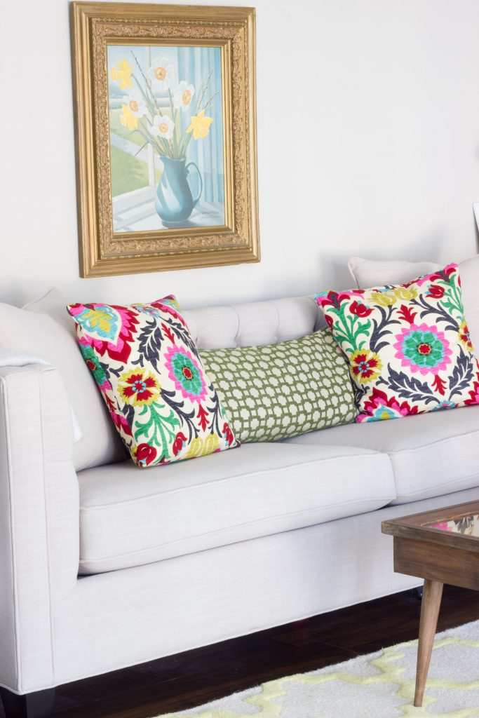 "The Lakewood Sofa from Home Decorators Collection looks AMAZING in this ""mom cave"" (aka living room/office)!"