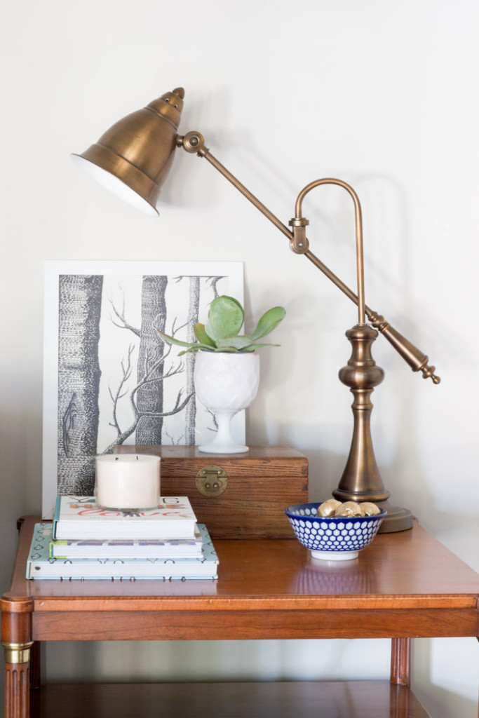 Antique Desk Lamp vignette: Check out the Thrifty Style Series for more styling ideas!