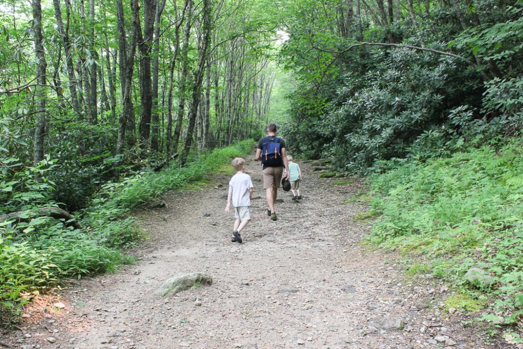 Hiking at Whiteside Mountain in NC.