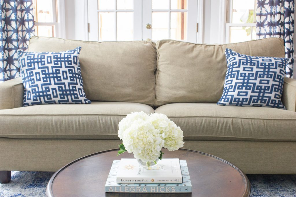 Loving this family room makeover with indigo shibori curtains!