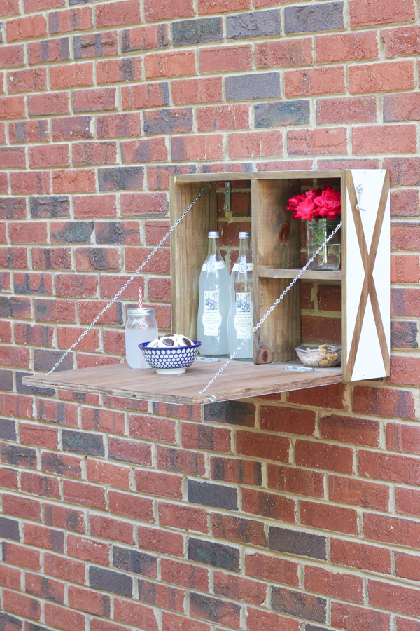 DIY White & Wood Outdoor Serving Station