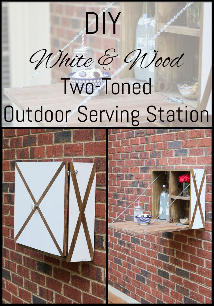 Learn how to build this DIY White & Wood Two-Toned Outdoor Serving Station! #DIHWorkshop #ad