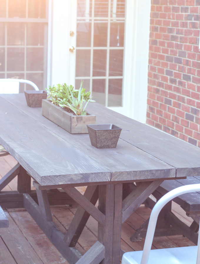 Anthro-Inspired Outdoor Farmhouse Table & Benches