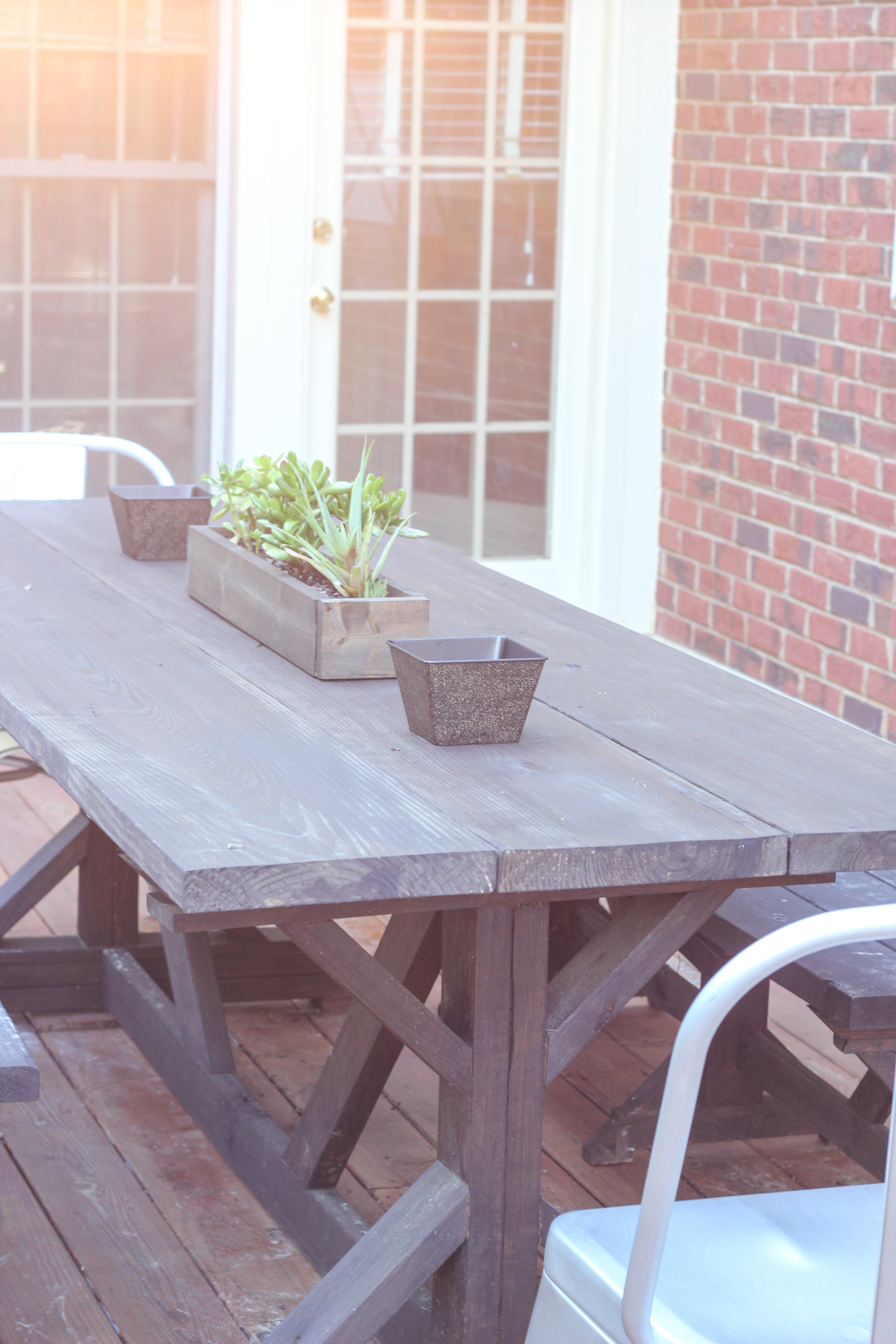 Peachy Anthro Inspired Outdoor Farmhouse Table Benches Erin Spain Bralicious Painted Fabric Chair Ideas Braliciousco