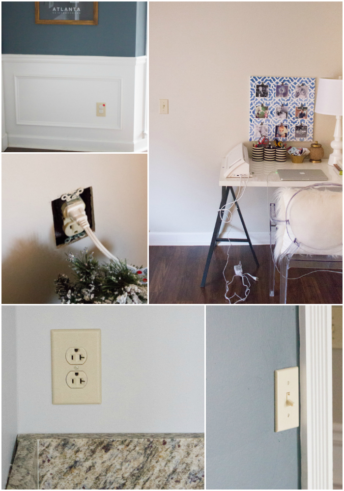 Our outlet situation BEFORE we upgraded to the radiant collection by Legrand.