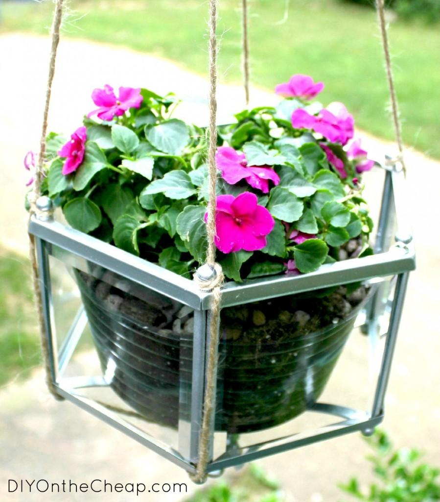 Upcycled Pendant Light Planter