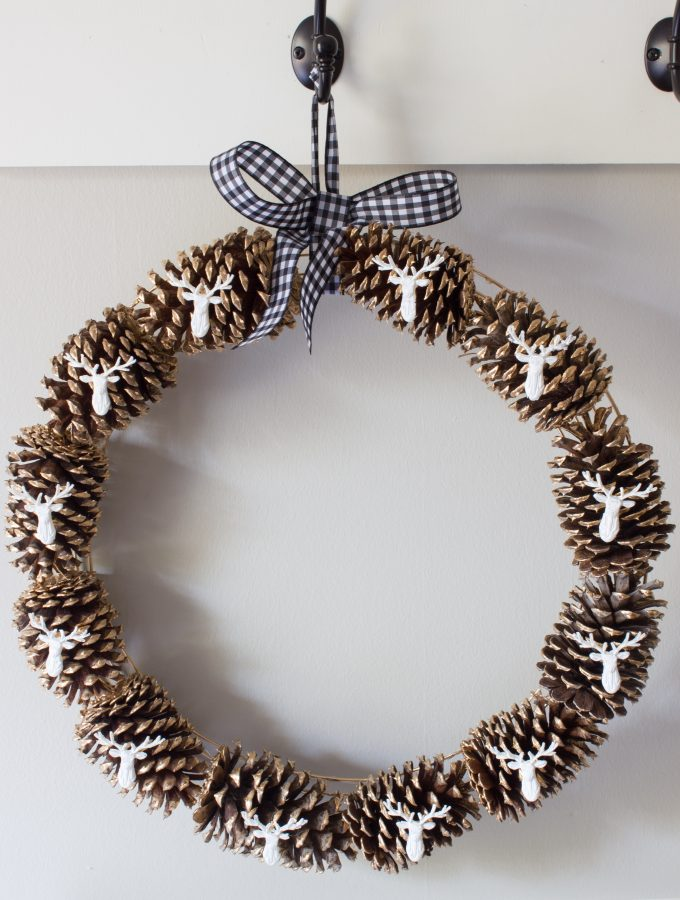 DIY Pinecone & Stag Head Fall Wreath