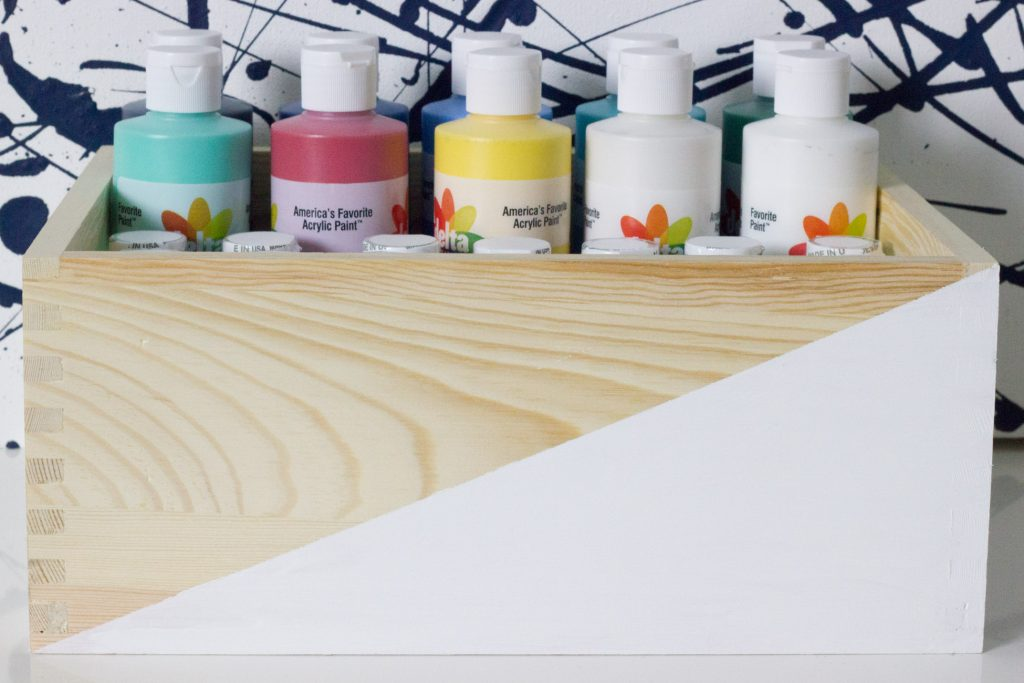 Corralling craft supplies with Delta Ceramcoat Acrylic Paint and items from the craft aisle at Target!