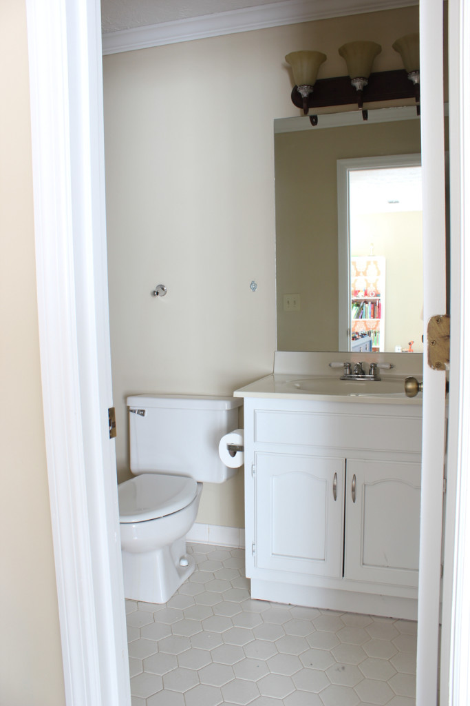 "Stenciled bathroom walls - ""before."""