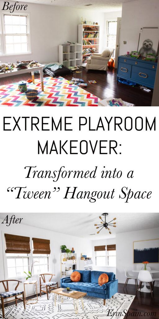 Check out this extreme playroom makeover! It was transformed into a tween hangout space and the before and after is DRAMATIC!