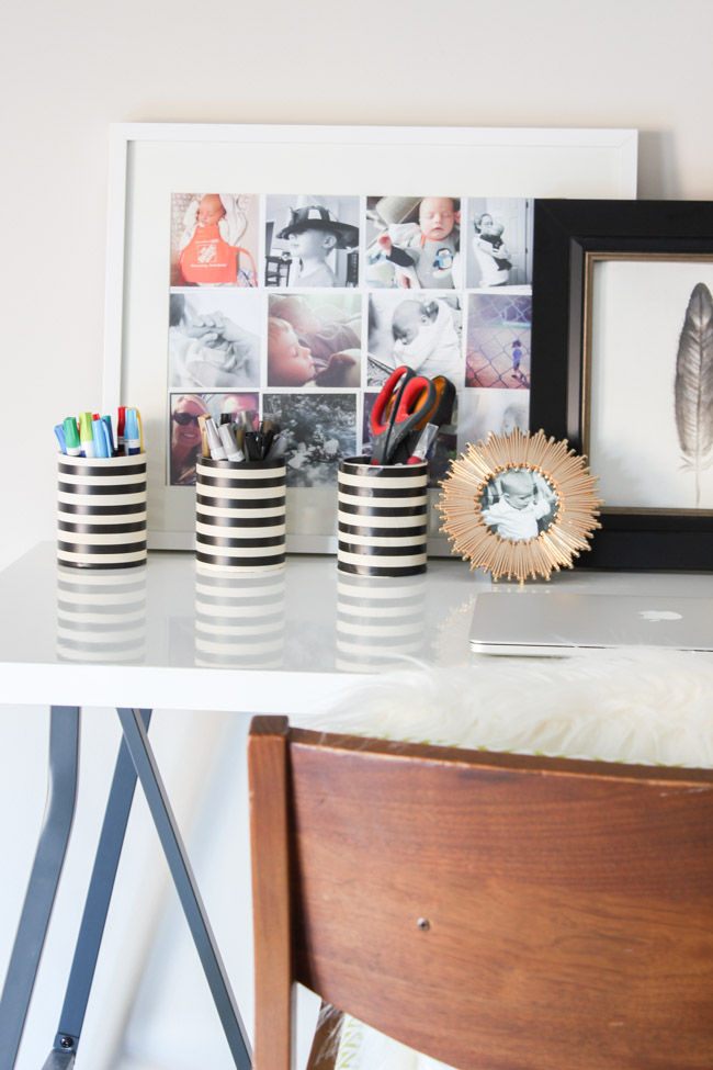 Repurposed metal tea tins become cute office storage containers! Check out this tutorial as part of the Styled X3 series.