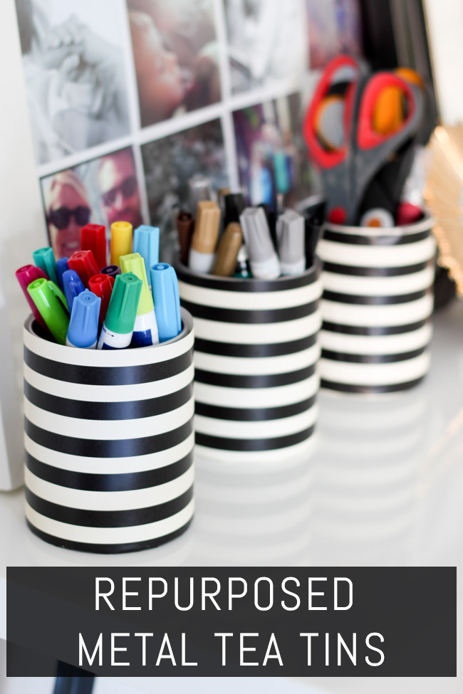 Repurposed metal tea tins become cute office storage containers! Check out this tutorial as part & Repurposed Metal Tins Styled X3 - Erin Spain