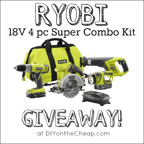 RYOBI Super Combo Kit Giveaway at DIYontheCheap.com!