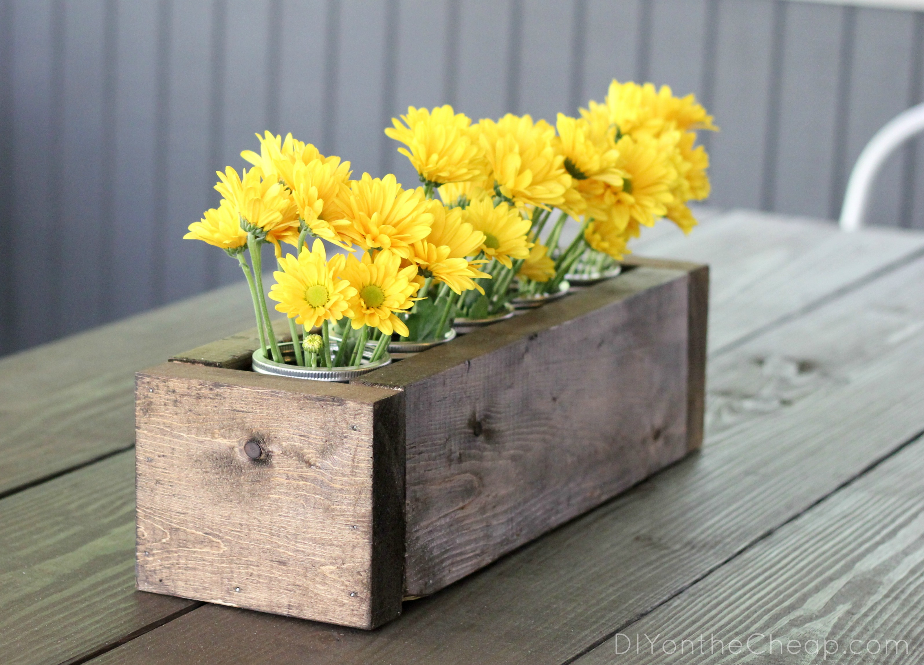 Scrap Wood + Mason Jar Centerpiece