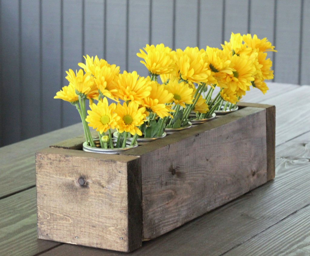 Scrap Wood and Mason Jar Centerpiece