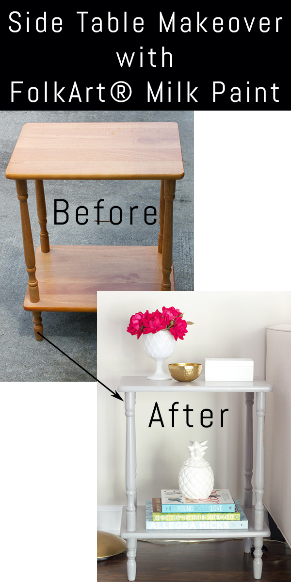 This side table makeover with FolkArt Milk Paint is stunning! I love breathing new life into old pieces, and this makeover did just that.