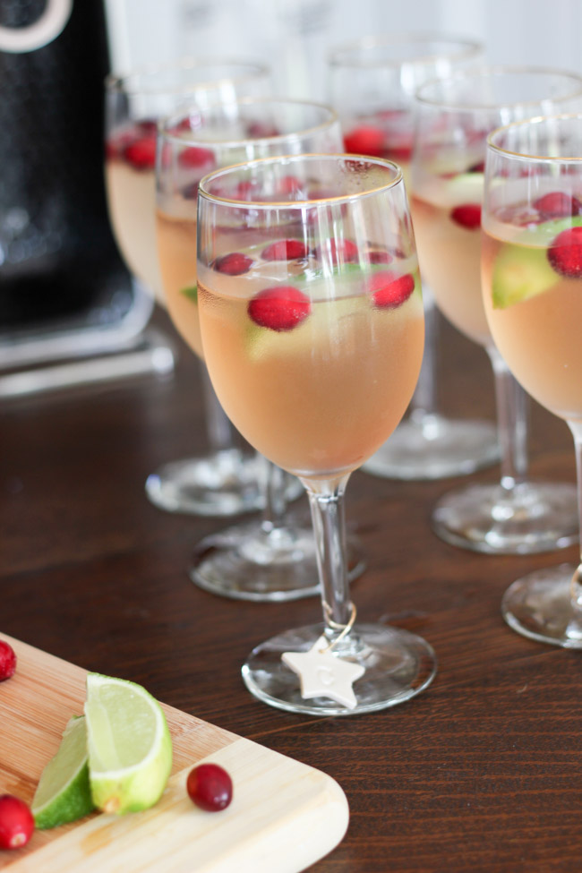 "Make these yummy Cranberry Raspberry Lime ""Mocktails"", plus DIY Monogram Wine Glass Markers to go with them!"