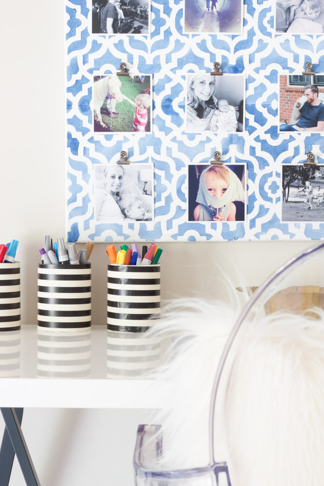 Make your own stenciled canvas Instagram photo display! Get the full tutorial via ErinSpain.com.